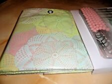 13 pc~Peach~Green~Blue Lacy Doily~ Medallions Peva Shower Curtain~hooks Grommets