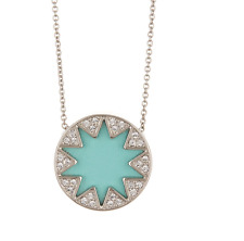 House of Harlow 0247 Light Blue Medium Pave Sunburst Necklace