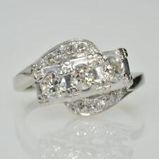 Single Cut Diamond Right Hand Ring Vintage 14k White Gold 5/8Ctw Old European