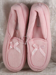 Peacocks pink slippers withbow ribbon detail size 3 brand new