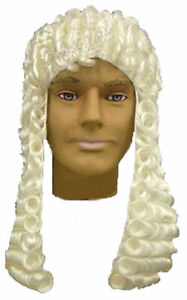 Judge Wig White Long Barrister Court Victorian Colonial Costume Wig