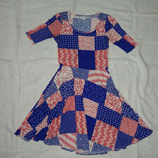 LuLaRoe Nicole Dress Red White Blue Patchwork Stars Soft Stretchy Medium