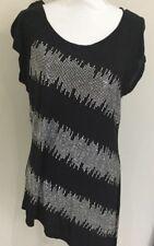 INC International Concepts Designer Ladies Embellished Top Black Size L  14-16