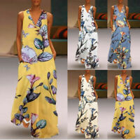 Women's Casual Sleeveless V-Neck Flower Print Maxi Tank Long Shift Dress Vintage