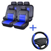 Universal Car Seat Cover & Steering Wheel Cover Set Black Blue fit for Sedan SUV