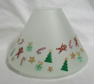 Yankee Candle Jar Shade White Frosted MODERN ART DECO gingerbread tree candy can