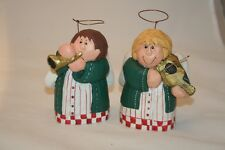 *2* Eddie Walker Musician Angel Figurines Violin & Trumpet Christmas Choir Euc