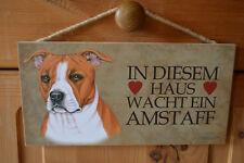 Türschild Tierschild Schild Tafel Holzschild Deko Bild Hund Amstaff  NEU