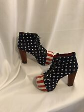 Jeffrey Campbell Lita-fab Booties Stars Stripes AMERICAN FLAG Heels Boots 8m