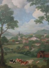 FOLK PAINTING: NEW ENGLAND VILLAGE SCENE