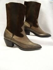 VANELLI~MINT!!~WOMEN'S BRONZE LEATHER & BROWN SUEDE WESTERN SYTLE BOOTS-SZ:8.5M