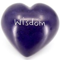 """Vaneal Group Hand Carved Soapstone 2-Sided Purple """"Wisdom"""" Heart Paperweight"""