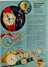 1972 ADVERT 3 PG Character Wrist Watch Dr Seuss Cat In Tha Hat Hat Wheels Barbie