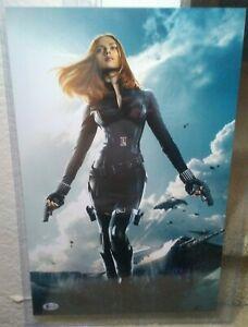 Scarlett Johansson Signed Black Widow Photo 12 x18 BAS Beckett Captain America
