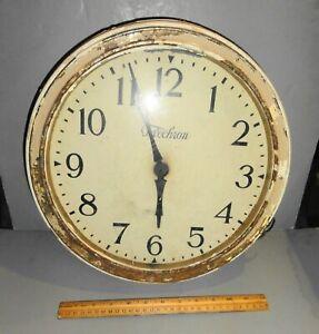 ANTIQUE TELECHRON WALL MOUNT CLOCK BRASS MAN CAVE GARAGE ELECTRIC 1920'S USA