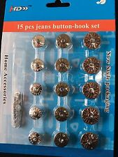 Buttons And Hooks Set 15 Pieces Brass And White For Jeans And Multipurpose New