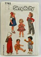 1986 VTG Simplicity Sewing Pattern 7782 Toddlers Wardrobe 6 Outfits Size 2 5437F