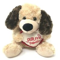 Dan Dee Our First Valentine Plush PUPPY DOG Brown 9-inch Stuffed Animal Toy