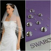 White Ivory 2t Bridal Wedding Veil with Comb Elbow Swarovski® Crystals Diamante
