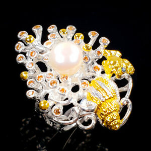 Jewelry Handmade Pearl Ring Silver 925 Sterling  Size 6 /R173374