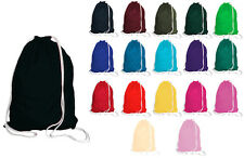 100% Cotton School Drawstring Book Bag Sport Gym Swim PE Dance Girls Boys Kids
