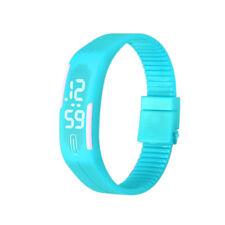 Ultra Fino Unisex Depot Pulsera Reloj Silicona LED Digital Mujer Hombre AZUL CIE