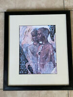 Vintage African american Women Art Print Framed Matted 20x16