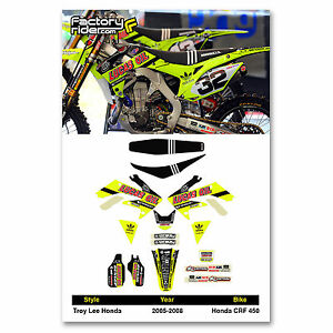 HONDA CRF 450  Graphics & Seat Cover  Fits 2005 - 2008 TLD Neon Graphics kit