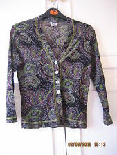 Vintage Green Black Paisley Retro Pattern Top by MNG Size M (#059)