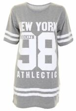 Ladies USA American Varsity Baseball Newyork98 Oversize Baggy T Shirt Top Dress UK 12-14 Light Grey