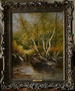 Study in North Wales A Forest Interior Oil Painting 1877 A. Brandish Holte (Brit