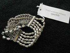 "CHICO'S LADIES BRACELET - 8"" STRETCH MIXED GLASS/RHINESTONES (?)  METAL CHAINS"