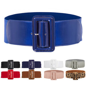 Ladies Women's Stretch Elasticated Waist Belt Pu Leather Buckle Fashion 3In Wide