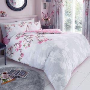 ROSEANNE FLORAL DOUBLE DUVET COVER SET GREY & PINK ROSES TRAIL 2-IN-1 DESIGN