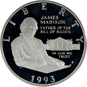 US Silver 50c Commemorative 1993-S James Madison Bill of Rights Proof 90% Fine