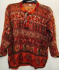 "bust40"" 100% COTONE Indian KURTI VINTAGE LOOK TOP CAMICETTA hippy blusa"