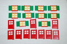 LEGO 10 RED DOORS door AND 10 WINDOWS window W/SHUTTERS LOT PART PIECES