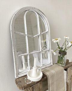 White Antique Style Shabby Chic Window Secret Garden Mirror Indoor Outdoor