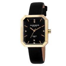 Women's Akribos XXIV AK749BK Swiss Quartz Diamond Dial Black Leather Strap Watch