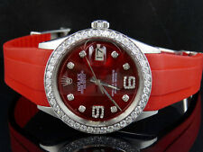 Sporty Custom Rolex Datejust Red Dial Rubber Band 36MM Diamond Watch 2.75 Ct