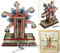MS435 Snowflake Ferris Wheel Retro Clockwork Wind Up Tin Toy w/Box