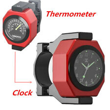 1x Aluminum Motorcycle Handlebar Watch Analogue Clock Temperature Meter Luminous