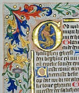 Illuminated medieval Dutch BoH lf,vellum,lg.historiated Gold,initial & ,c.1475