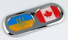 Ukraine Canada Double Country Flag Car Chrome Emblem Decal Sticker Badge DC