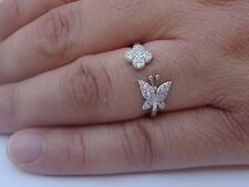 925 STERLING SILVER LADIES BUTTERFLY& FLOWER OPEN RING W/.80 CTS DIAMOND/SZ 5-9