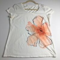 Merona Women's Short Sleeve Graphic Tee T Shirt Floral Scoop Neck Size Large L