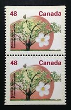 Canada #1363a CP MNH, McIntosh Apple Tree Definitive Booklet Pair of Stamps 1991