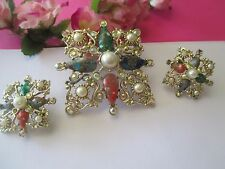 VINTAGE SARAH COVENTRY GALAXY RHINESTONE FAUX PEARL MARBLED BROOCH EARRING 162