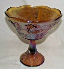 Carnival Glass Fruit Bowl Marigold Grapes Leaves Iridescent Amber Indiana Large