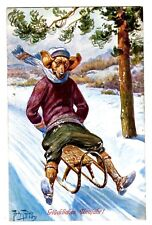 POSTCARD THIELE DOG DACHSHUND SLEDDING T.S.N. SERIES 1300
